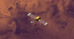 Top view of Surveyor spacecraft above Mars at -33 degrees longitude. Stock Footage