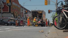 Honest Eds Construction Workers Installing Bike Lanes Bathurst Bloor Stock Footage