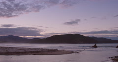 Sunset on tropical beach at Waikawau Bay in the Coromandel Peninsula, New Stock Footage