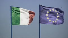 Flags wind Italy EU tarnished Stock Footage