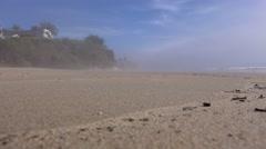 A man and a dog jog on a beach. Stock Footage