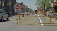 Road Closed Installing Bike Lanes Bathurst Bloor Stock Footage
