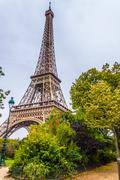 A view of a park and Eiffel Tower, Paris, France Stock Photos