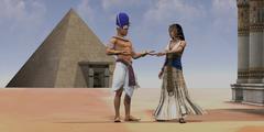 Egyptian Queen Pharaoh Temple Stock Illustration