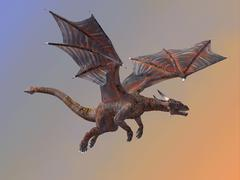 Hell Dragon Flying Stock Illustration