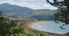 Tropical beach at Waikawau Bay in the northern Coromandel Peninsula, New Zealand Stock Footage
