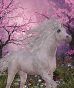 Unicorn Cherry Blossom Glen Stock Illustration