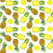 Hand drawn watercolor pineapples Stock Illustration