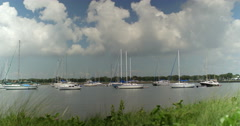 Sailboats Moored in Tampa Bay Wide Shot Two Stock Footage