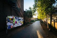 Brick alleyway on the campus of Yale University, in New Haven, Connecticut. Stock Photos
