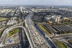 Wilshire Blvd Ramps to the San Diego 405 Freeway in West Los Angeles Stock Photos