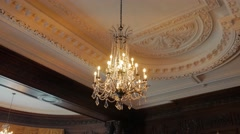 Grand Crystal Chandelier Interior Roof Victorian Gothic Revival Style Stock Footage