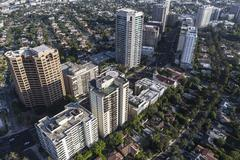 Wilshire Blvd Highrise Condos and Apartments in Los Angeles Stock Photos