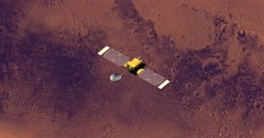 Top view of Surveyor spacecraft above Mars at 111 degrees longitude. Stock Footage