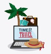 Icon set travel vacations trip. Vector graphic Piirros