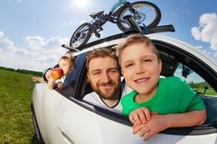 Big happy family going on holiday trip in summer Stock Photos