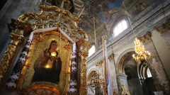 Image of a Saint, Church Lamp at It, Frescoes and Icons, close-up Stock Footage