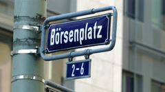 Börsenplatz Borsen square Frankfurter Stock Exchange  street sign Frankfurt am Stock Footage