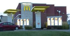 McDonalds Drive Thru - Dusk - 4k Stock Footage