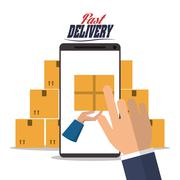 smartphone hand box package delivery icon. Vector graphic - stock illustration