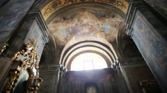 Refectory, murals on the walls of the temple. Panorama of the interior of the Stock Footage