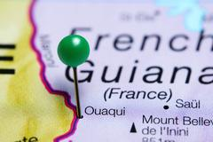 Ouaqui pinned on a map of French Guiana Stock Photos