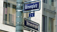 Börsenplatz Borsen square Frankfurter Stock Exchange  street sign Frankfurt am Stock Footage