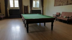 Grand Room Pool Table Interior Victorian Gothic Revival Style Stock Footage