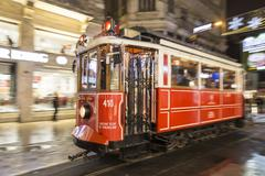 Istanbul, Turkey; January 07, 2015: Moving tramway from Istiklal Street, most kn Stock Photos