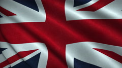 United Kingdom Flag Flying in the Wind Looping 3D Animation Stock Footage