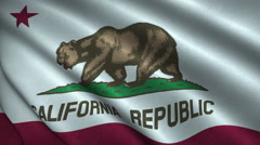 California State Flag Flying in the Wind Looping 3D Animation Stock Footage