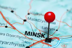 Minsk pinned on a map of Belarus Stock Photos