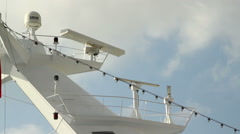 The white cruise ship operates a radar Stock Footage