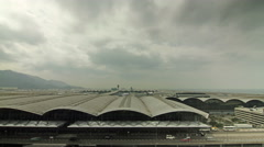 Timelapse video of Hong Kong international airport panorama Stock Footage