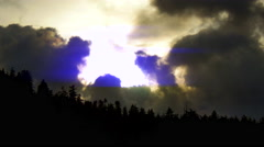 4K Forest Skyline Silhouette, Trees and Clouds, Dusk and Sunrise Landscape Stock Footage