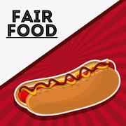 Hot dog fair food snack carnival icon Stock Illustration