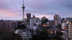 Time lapse Auckland skyline at dusk Stock Footage