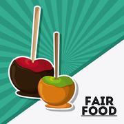 apple fair food snack carnival icon - stock illustration