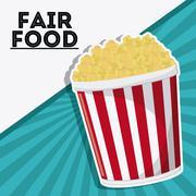 Pop corn fair food snack carnival icon Stock Illustration