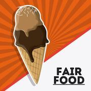 ice cream fair food snack carnival icon - stock illustration