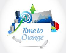 Time to change business chart sign isolated Stock Illustration