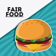 Hamburger fair food snack carnival icon Stock Illustration