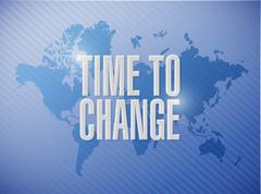 Time to change world map sign concept Stock Illustration