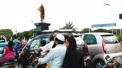 Traffic waiting at the signal in Chennai Stock Footage