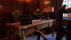 Office Interior Desk Victorian Gothic Revival Style Angle Stock Footage