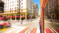 Hyperlapse San Francisco Outbound Hyde-Powell Cable Car Standing Rear Outside Stock Footage