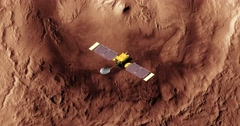 Top view of Surveyor spacecraft above Mars' Gale Crater. - stock footage