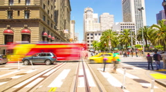 Moving Time-Lapse San Francisco Inbound Hyde-Powell Cable Car Inside Front POV Stock Footage