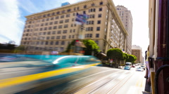 Time-Lapse San Francisco Outbound California St. Cable Car Outside Platform Rear Stock Footage