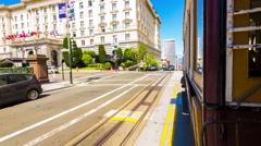 Hyperlapse San Francisco Outbound California Street Cable Car Rear POV Outside Stock Footage